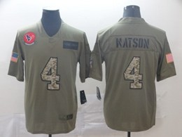 Mens Nfl Houston Texans #4 Deshaun Watson 2019 Green Olive Camo Salute To Service Nike Limited Jersey