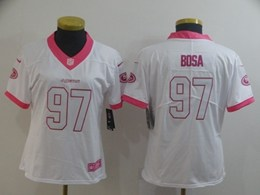Women Nfl San Francisco 49ers #97 Nick Bosa White&pink Fashion Vapor Untouchable Limited Jersey