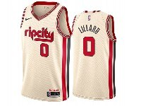 Mens 2019-20 Nba Portland Trail Blazers #0 Damian Lillard White Rip City Edition Nike Swingman Jersey