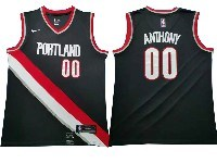Mens Nba Portland Trail Blazers #00 Carmelo Anthony Black Nike Swingman Jersey