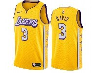 Mens 2019-20 Nba Los Angeles Lakers #3 Anthony Davis Gold City Edition Nike Swingman Jersey