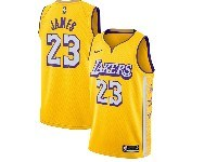 Mens 2019-20 Nba Los Angeles Lakers #23 Lebron James Gold City Edition Nike Swingman Jersey