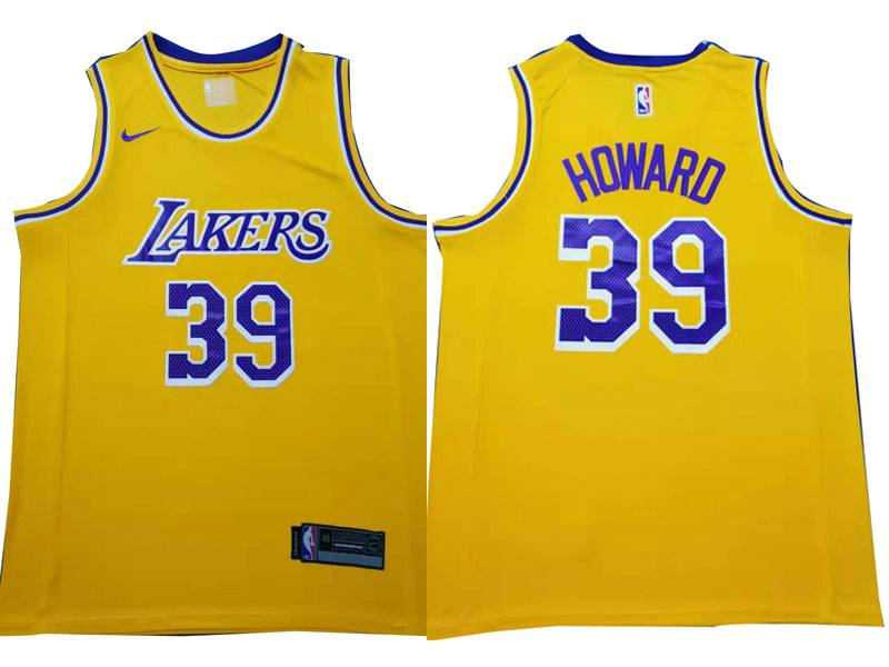 Mens Nba Los Angeles Lakers #39 Dwight Howard Gold Nike Swingman Jersey