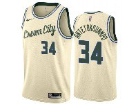 Mens 2019-20 Nba Milwaukee Bucks #34 Giannis Antetokounmpo Cream City Edition Swingman Jersey