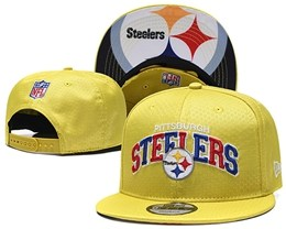 Mens Nfl Pittsburgh Steelers Yellow Snapback Adjustable Hats With Team Patch And Team Name