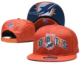 Mens Nfl Miami Dolphins Orange Snapback Adjustable Hats With Team Patch And Team Name