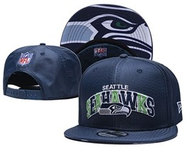 Mens Nfl Seattle Seahawks Blue Snapback Adjustable Hats With Team Patch And Team Name