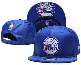 Mens Nba Philadelphia 76ers Blue Snapback Adjustable Hats With Team Patch And Team Name