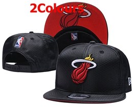 Mens Nba Miami Heat Black Snapback Adjustable Hats 2 Colors