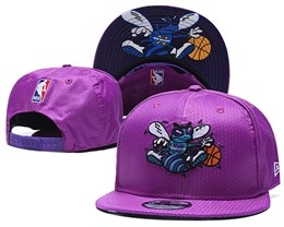 Mens Nba Charlotte Hornets Purple Snapback Adjustable Hats
