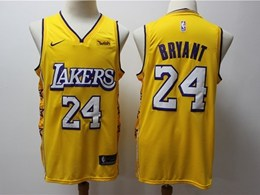 Mens 2019-20 Nba Los Angeles Lakers #24 Kobe Bryant Gold City Edition Nike Swingman Jersey