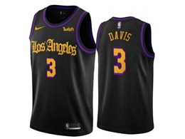 Mens 2019-20 Nba Los Angeles Lakers #3 Anthony Davis Black Nike Swingman Jersey