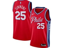 Mens 2019-20 Nba Philadelphia 76ers #25 Ben Simmons Red Nike Swingman Jersey