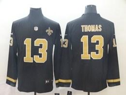Mens Nfl New Orleans Saints #13 Michael Thomas Black Nike Therma Long Sleeve Vapor Untouchable Jersey