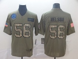 Mens Nfl Indianapolis Colts #56 Quenton Nelson 2019 Green Olive Camo Salute To Service Nike Limited Jersey