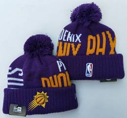 Mens Nba Phoenix Suns Purple&yellow New Sport Knit Hats