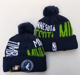 Mens Nba Minnesota Timberwolves Blue&green New Sport Knit Hats