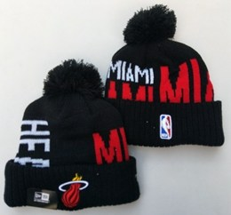 Mens Nba Miami Heat Black&red New Sport Knit Hats