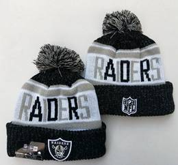 Mens Nfl Oakland Raiders Black&white New Sport Knit Hats