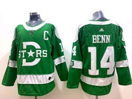 Mens Nhl Dallas Stars #14 Jamie Benn Green 2019 Winter Classic Adidas Jersey