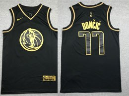 Mens 2019-20 Nba Dallas Mavericks #77 Luka Doncic Black Gold Collection Limited Edition Jersey