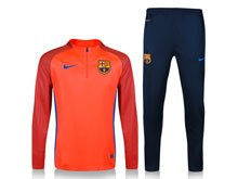 Mens 19-20 Soccer Barcelona Club Red Training And Blue Sweat Pants Training Suit ( Half Zipper )