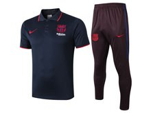 Mens 19-20 Soccer Barcelona Club Blue Polo Shirt And Brown Sweat Pants Training Suit
