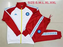 Mens 19-20 Napoli Club White And Red Training And Red Sweat Pants Training Suit ( High Collar )