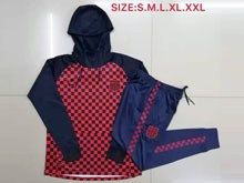 Mens 19-20 Soccer France National Team Red Grid Wind Coat And Blue Sweat Pants Training Suit ( Zipper )