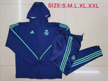 Mens 19-20 Soccer Real Madrid Club Blue Long Zipper Jersey With Blue Sweat Pants Thick With Wool ( H M )