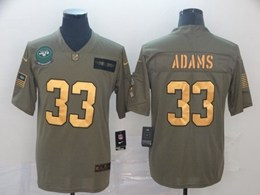 Mens Nfl New York Jets #33 Jamal Adams 2019 Green Olive Gold Number Salute To Service Limited Jersey