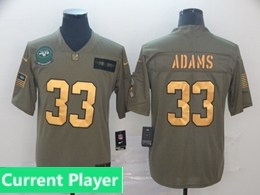 Mens Nfl New York Jets Current Player 2019 Green Olive Gold Number Salute To Service Limited Jersey