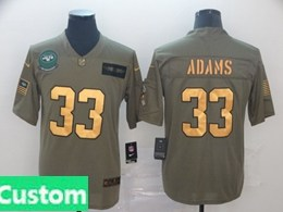 Mens Nfl New York Jets Custom Made 2019 Green Olive Gold Number Salute To Service Limited Jersey