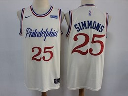 Mens 2019-20 Nba Philadelphia 76ers #25 Ben Simmons Cream Nike City Edition Jersey