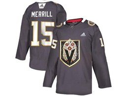 Mens Nhl Vegas Golden Knights #15 Jon Merrill Gray Latin Edition Adidas Jersey