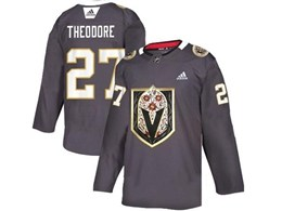 Mens Nhl Vegas Golden Knights #27 Shea Theodore Gray Latin Edition Adidas Jersey