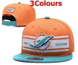 Mens Nfl Miami Dolphins White & Green 100th Snapback Adjustable Hats 3 Colors