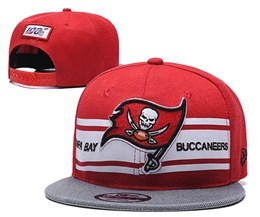 Mens Nfl Tampa Bay Buccaneers Red&white 100th Snapback Adjustable Hats