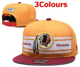 Mens Nfl Washington Redskins White&red&yellow 100th Snapback Adjustable Hats 3 Colors