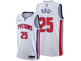 Mens 2019-20 Nba Detroit Pistons #25 Derrick Rose White Nike Swingman Jersey