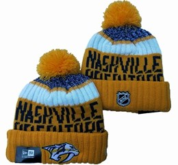 Mens Nhl Nashville Predators Yellow&white Sport Knit Hats