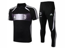 Mens 19-20 Soccer Juventus Club Earthy Black Short Sleeves And Black Sweat Pants Training Suit ( Printing )