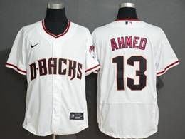 Mens Mlb Arizona Diamondbacks #13 Nick Ahmed White Flex Base Nike Jersey