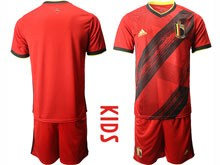 Youth 19-20 Soccer Belgium National Team ( Custom Made ) Red Eurocup 2020 Home Short Sleeve Suit