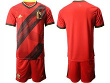Mens 19-20 Soccer Belgium National Team ( Custom Made ) Red Eurocup 2020 Home Short Sleeve Suit
