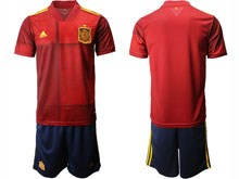 Mens 19-20 Soccer Spain National Team ( Custom Made ) Red Eurocup 2020 Home Short Sleeve Suit Jersey