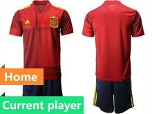 Mens Soccer Spain National Team Current Player Red Eurocup 2020 Home Short Sleeve Suit Jersey
