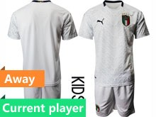 Kids Soccer Italy National Team Current Player White 2020 European Cup Away Short Sleeve Suit Jersey