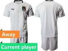 Mens Soccer Italy National Team Current Player White 2020 European Cup Away Short Sleeve Suit Jersey