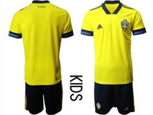 Kids Soccer Switzerland National Team ( Custom Made ) Yellow Eurocup 2020 Away Short Sleeve Suit Jersey